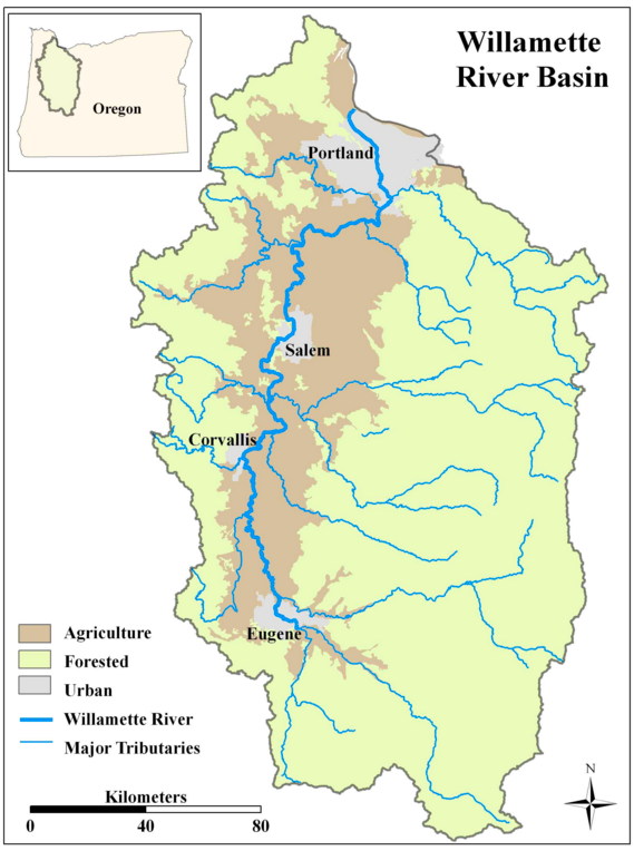 Map of the Willamette River Basin.