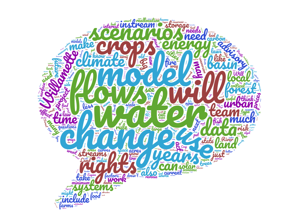 Word cloud created from the Willamette INFEWS Advisory Team Workshop 1 meeting notes.